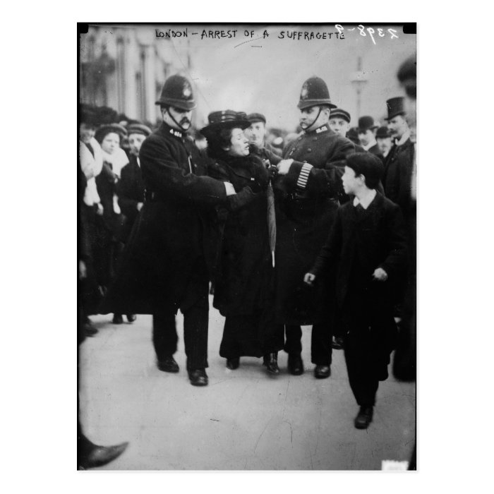 Arrest of a Suffragette in London England c 1910 Postcard