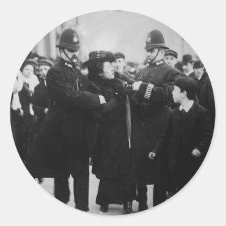 Arrest of a Suffragette in London England c 1910 Round Sticker
