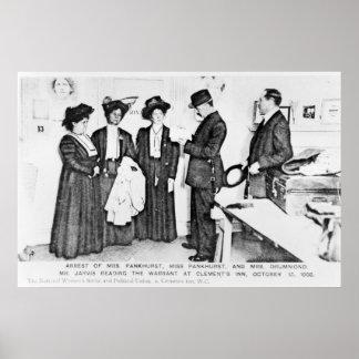 Arrest of Mrs Pankhurst Poster