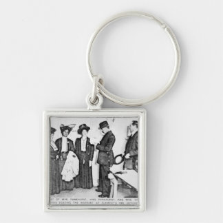 Arrest of Mrs Pankhurst Silver-Colored Square Keychain