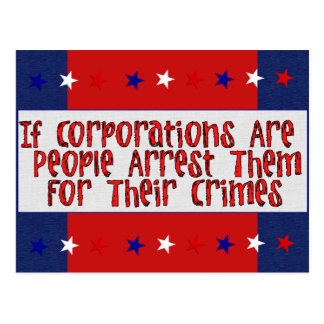 ARREST THE CORPORATIONS POSTCARD