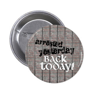 Arrested Yesterday, Back Today! Pinback Button