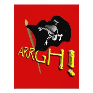¡ARRGH Bandera de pirata alegre de Rogelio que ag Flyer Personalizado