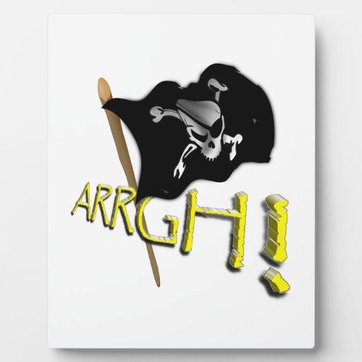 ¡ARRGH! Bandera de pirata alegre de Rogelio que ag Placas Para Mostrar