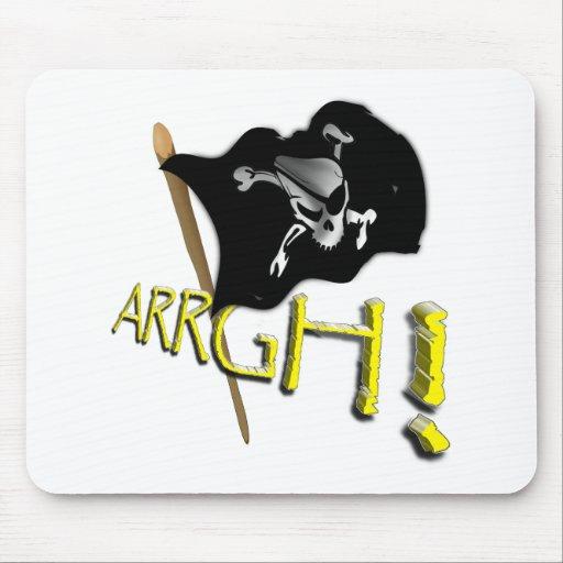 ¡ARRGH! Bandera de pirata alegre de Rogelio que ag Alfombrillas De Ratones