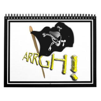 ¡ARRGH! Bandera de pirata alegre de Rogelio que Calendarios De Pared