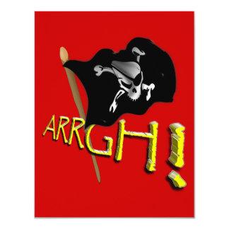 """¡ARRGH! Bandera de pirata alegre de Rogelio que Invitación 4.25"""" X 5.5"""""""