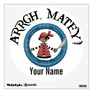 Arrgh Matey African American Pirate Boy and Parrot Wall Sticker