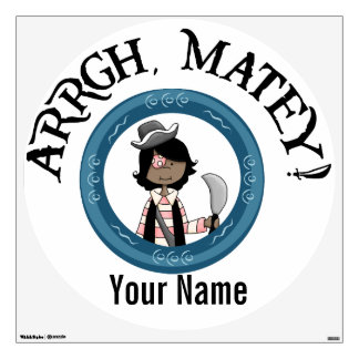 Arrgh Matey African American Pirate Girl and Sword Wall Decal