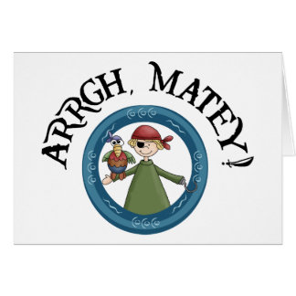 Arrgh Matey Pirate And Parrot Notecard