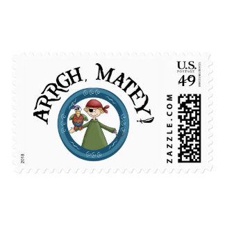 Arrgh Matey Pirate And Parrot US Postage Stamp Postage Stamp