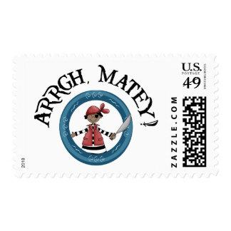 Arrgh Matey Pirate Boy Postage Stamp Stamp