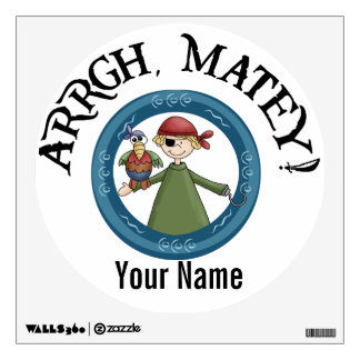 Arrgh Matey Pirate Boy with a Parrot Wall Decal