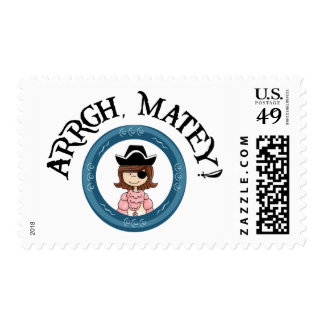 Arrgh Matey Pirate Girl Postage Stamp Stamps