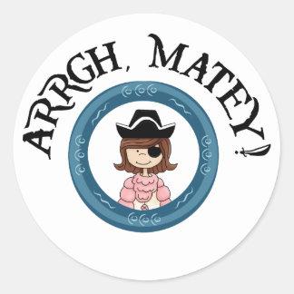 Arrgh Matey Pirate Girl Stickers Sticker