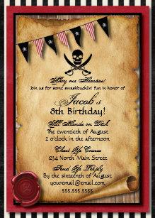 pirate party invitations zazzle