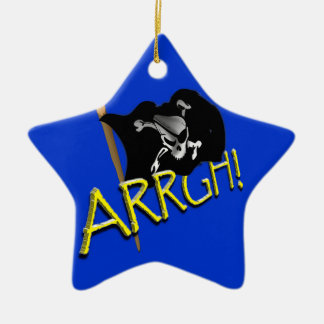 ARRGH! Pirate Flag Double-Sided Star Ceramic Christmas Ornament