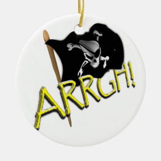 ARRGH! Pirate Flag Double-Sided Ceramic Round Christmas Ornament