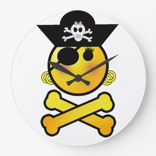 ARRGH! Smiley - Girl  Emoticon Pirate Clocks