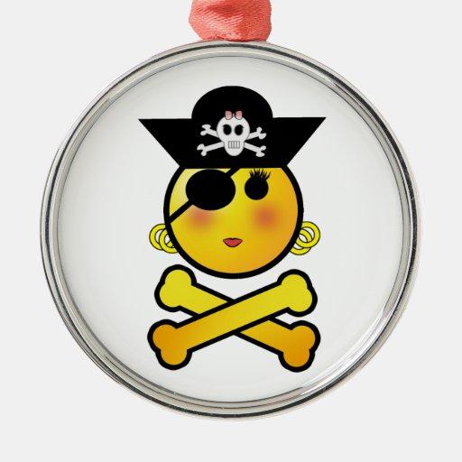 ¡ARRGH! Smiley - pirata del Emoticon del chica Adorno Redondo Plateado