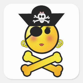 ¡ARRGH! Smiley - pirata del Emoticon del chica Calcomanía Cuadrada Personalizada