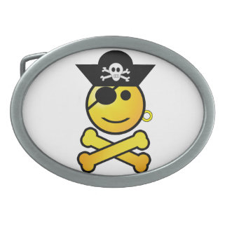 ARRGH Smiley - Smiling Emoticon Pirate Oval Belt Buckle