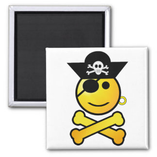 ARRGH! Smiley - Smiling Emoticon Pirate 2 Inch Square Magnet