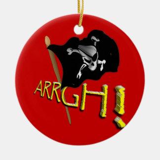 ARRGH! Waving Jolly Roger Pirate Flag Ceramic Ornament