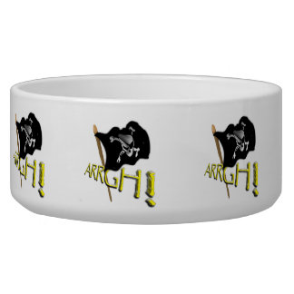 ARRGH! Waving Jolly Roger Pirate Flag Dog Food Bowls