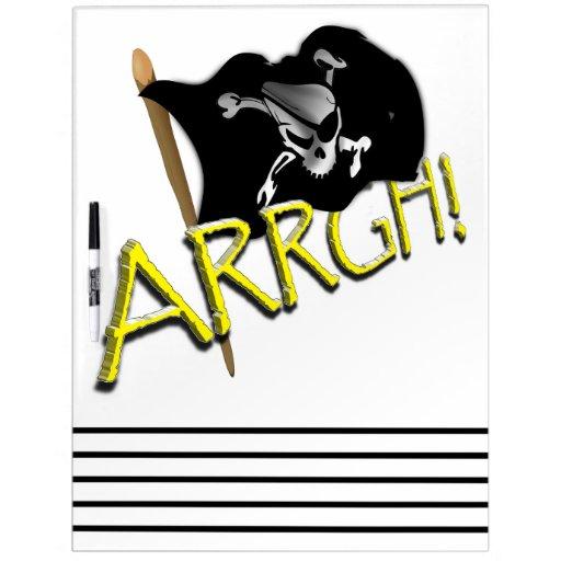 ARRGH! Waving Jolly Roger Pirate Flag Dry Erase Board