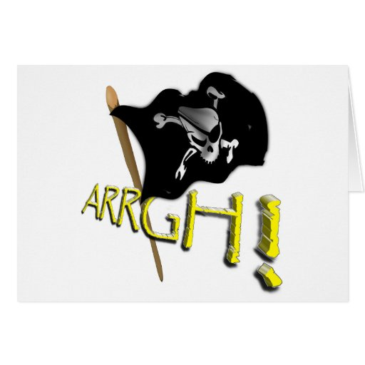 ARRGH! Waving Jolly Roger Pirate Flag Greeting Card