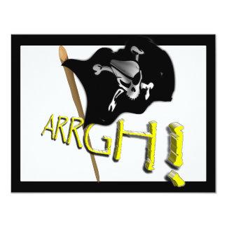 ARRGH! Waving Jolly Roger Pirate Flag 4.25x5.5 Paper Invitation Card