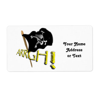 ARRGH! Waving Jolly Roger Pirate Flag Shipping Label