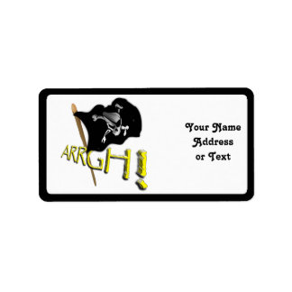 ARRGH! Waving Jolly Roger Pirate Flag Personalized Address Labels