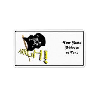 ARRGH! Waving Jolly Roger Pirate Flag Custom Address Label