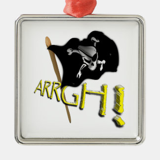 ARRGH! Waving Jolly Roger Pirate Flag Square Metal Christmas Ornament