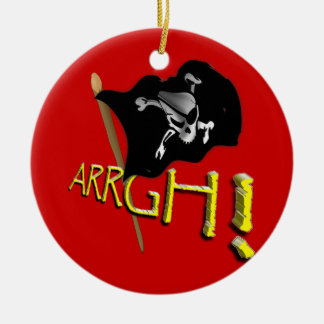 ARRGH! Waving Jolly Roger Pirate Flag Double-Sided Ceramic Round Christmas Ornament
