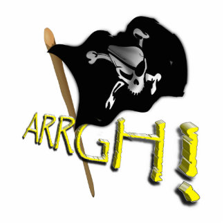 ARRGH! Waving Jolly Roger Pirate Flag Acrylic Cut Out