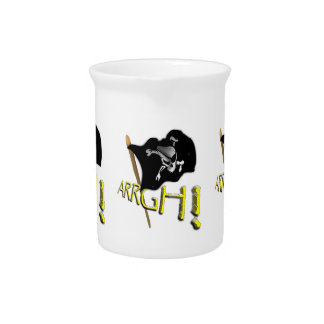ARRGH! Waving Jolly Roger Pirate Flag Beverage Pitchers
