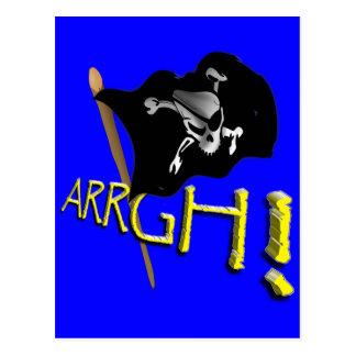 ARRGH! Waving Jolly Roger Pirate Flag Postcard