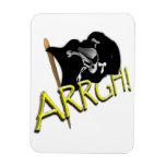 ARRGH! Waving Jolly Roger Pirate Flag Rectangular Magnet