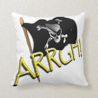 ARRGH! Waving Jolly Roger Pirate Flag Throw Pillow