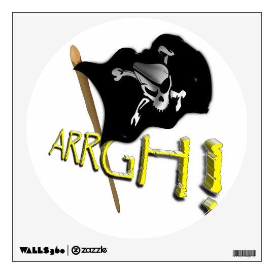 ARRGH! Waving Jolly Roger Pirate Flag Wall Sticker