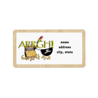 ARRGH! With Pirate Treasure, Parrot & Eye Patch Address Label