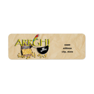 ARRGH! With Pirate Treasure, Parrot & Eye Patch Custom Return Address Labels