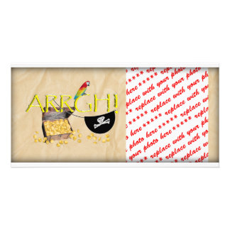 ARRGH! With Pirate Treasure, Parrot & Eye Patch Picture Card