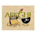 ARRGH! With Pirate Treasure, Parrot & Eye Patch Postcard