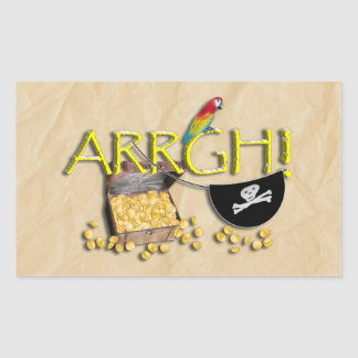 ARRGH! With Pirate Treasure, Parrot & Eye Patch Rectangular Sticker
