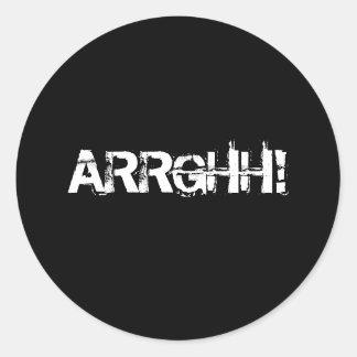 ARRGHH!  Pirate Shout / Scream. Black Classic Round Sticker