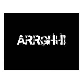 ARRGHH!  Pirate Shout / Scream. Black Postcard
